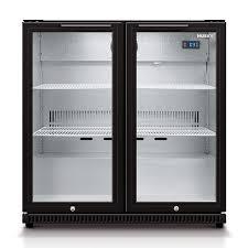 husky double glass door bar fridge in black
