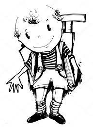 Weinig Schooljongen Illustratie Bij Kinderen In Kleurplaat Boeken