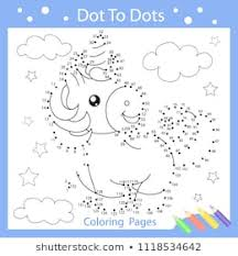 worksheets dot to dot with drawn the funny unicorn children funny art riddle drawing