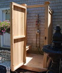outside shower enclosure shower bench for cedar outdoor showers cape cod kits regarding