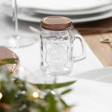 mini mason rose gold wedding favor jars