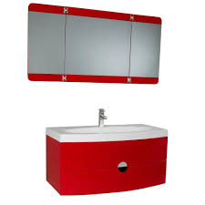 vanity in red with acrylic vanity top in white and 3