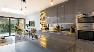 dropped ceiling lighting. Cast Concrete Kitchen Worktop Modern Drop Ceiling Lighting Wooden Dining Table Green Cozy Chairs Dark Grey Dropped