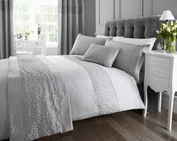 silver sequined king size quilt duvet cover and 2 x pillowcase bedding bed set modern luxury glamour co uk kitchen home