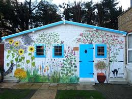wall murals for outdoor use shed mural cottage outside lovely dementia outdoor wall murals for the