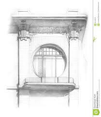 window pencil drawing. art drawing facade nouveau pencil window c