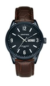 shop men s wrist watches in all styles armitron blue case day date function brown croco leather strap watch 20 5048dgnvbn