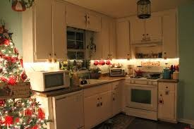 Small L Shaped Kitchen Design With Cute Christmas Decoration