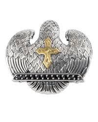 konstantino men s sterling silver 18k gold eagle pendant with spinel