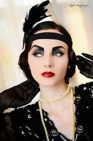 gatsby era i like this one because of the eye shadow which brings out her eyes and the lip stick really stands out because of all the black