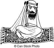 carpet clipart black and white. arab flying - thinking on the carpet clipart black and white