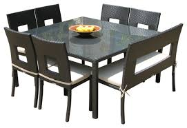 outdoor wicker resin 8 piece square dining table chairs and bench set