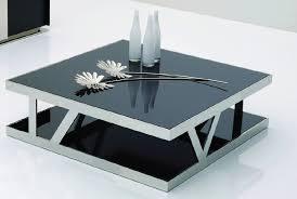 929E Modern Black Glass Square Coffee Table Nice Look