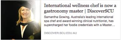 samantha has a diploma of health science nutrition from endeavour college of natural health and a master s degree in gastronomic tourism from le cordon