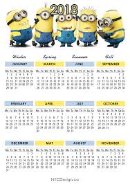 Nyc Design Calendar 2018 Calendar Printable Free Minions Calendar Monday