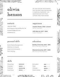 Black and White Floral Pattern Infographic Resume