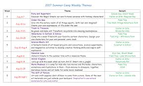 Summer Camp Weekly Schedule Summer Camp Weekly Sample Schedule