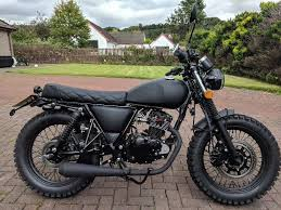 mutt fat sabbath 125cc cafe racer tracker scrambler custom matt black motorbike motorcycle