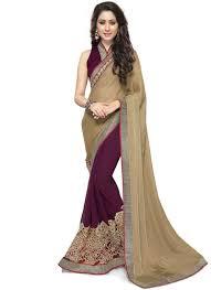 invaluable jacquard beige and wine designer half n half saree