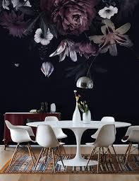 Murwall Dark Floral Wallpaper Claret ...