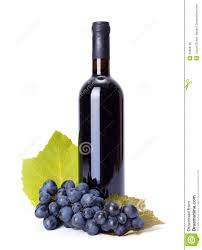 bottle of red wine with blue grape cluster bottle red wine