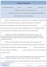 Business Agreement Sample The Downloadable Agreements Below Allow For Deals To Be Made Amongst 3