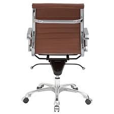 Eames ribbed chair tan office Charles Eames Poly And Bark Ribbed Mid Back Office Chair In Vegan Leather Terracotta Modmess Poly And Bark Ribbed Mid Back Office Chair In Vegan Leather