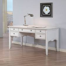 classic white writing desk design with chrome finished metal study lamp using bamboo floor and soft grey wall color with unique fl painting