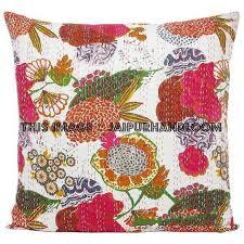 24x24 White Handmade Kantha Pillow Kantha Decorative throw Pillow ka