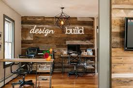 view in gallery accent wall crafted from reclaimed wood is perfect for the industrial home office design