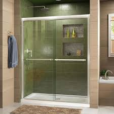 DreamLine Duet 56-in to 60-in W Frameless Brushed Nickel Sliding Shower Door