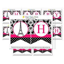 Birthday Banner Printable Paris Happy Birthday Banner Printable Instant Download