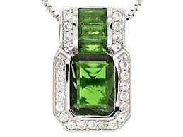 green chrome diopside sterling silver pendant with chain 2 30ctw mxh318 jtv com