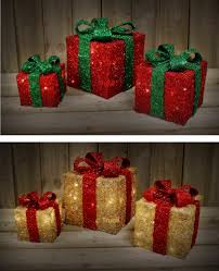 3 Light Up Christmas Boxes Set Of 3 Led Light Up Christmas Present Gift Boxes Battery Powered Decoration