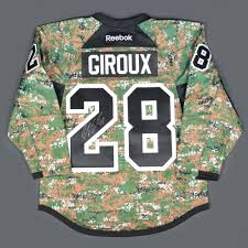 flyers green jersey claude giroux philadelphia flyers military appreciation warmup