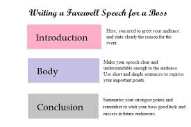 farewell speech for your boss who is retiring farewell speech need to write a farewell speech for a great boss or manager who is leaving the company and how best to go about it a sample goodbye or retirement