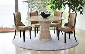 vida living marcello cream marble round fixed top dining set with 4 beige faux leather chairs