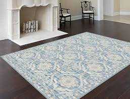 Accent Any Dcor With This Light Blue Baroque Style Rug This Opulent Rug Is Ideal
