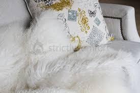 mongolian sheepskin fur white throw rug