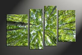 on green wall art decor with 4 piece scenery green nature trees multi panel canvas