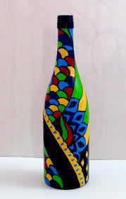 Bottle Painting Designs Images Buy Hand Painted Glass Bottle Vase Multi Colored Design