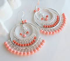 pink c swarovski pearl chandelier earrings large silver hoop