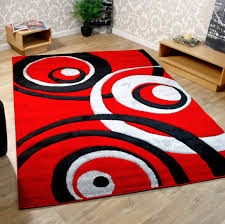 stylish red black and white rectangle rug for living room of