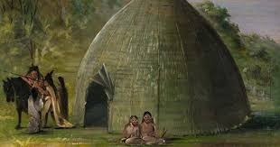 wichita lodge thatched with prairie grass 1834 1835 by george catlin