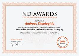 Honorable Mention Certificate Neutral Density Awards 2016 The Photography Of Andreas