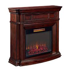 style selections 48 in w 5 200 btu walnut wood infrared quartz electric fireplace with