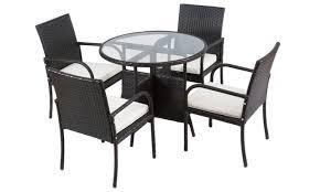 5pcs rattan wicker garden patio furnturei set chairs round table