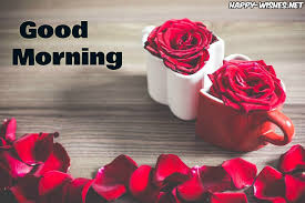 good morning wishes with red rose and coffee cup pictures