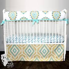 coastal blue yellow gender neutral baby crib bedding