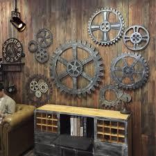 vintage wooden gear wall art industrial antique vintage home bar cafe pub decor